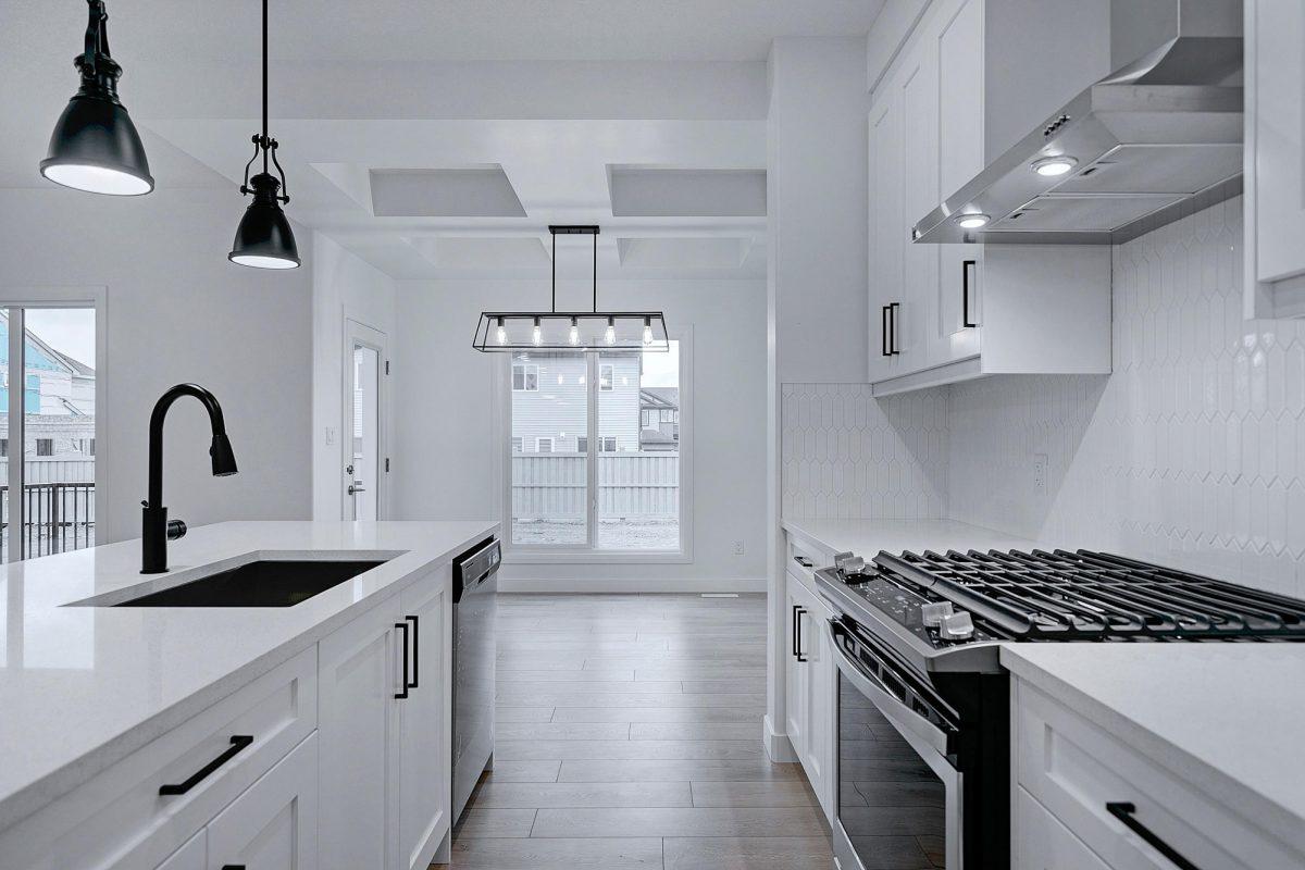 interior of kitchen, white and black